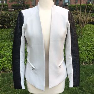 H&M Pale Gray Jacket with Faux Leather Sleeves